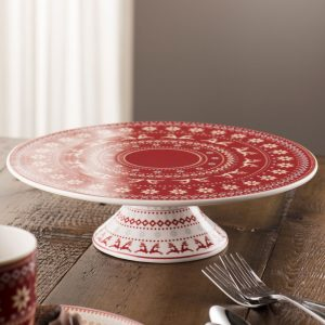 Aynsley Christmas Fairisle Footed Cake Stand
