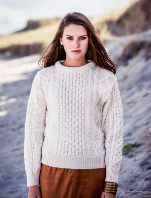 Natural Wool Irish Aran Sweater