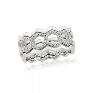 Waterford Crystal Silver Hexagon Ring