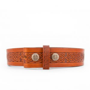 Lee River Brown Snap On Setanta Celtic Leather Belt