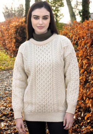Natural Wool Irish Aran Sweater