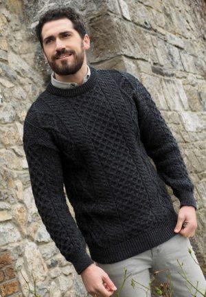 Charcoal Irish Wool Aran Sweater