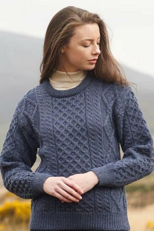 Denim Blue Irish Wool Aran Sweater