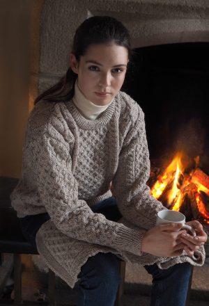 Oatmeal Irish Aran Wool Sweater