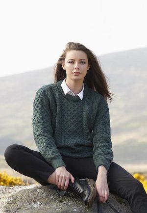 Unisex Green Irish Wool Sweater c1347
