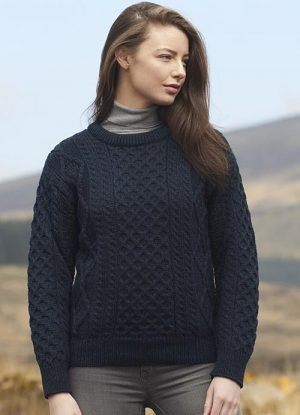 Blackwatch Irish Wool Aran Sweater c1347