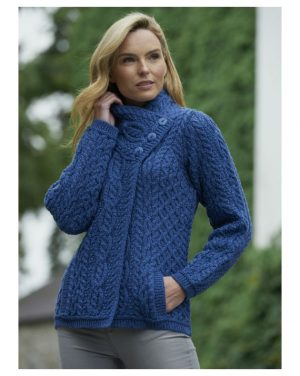 Women's Blue Aran Three Button Cardigan