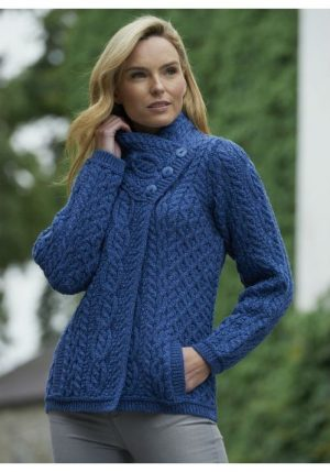 Women's Blue Aran Three Button Cardigan