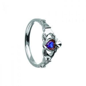 September-Blue Sapphire Birthstone Claddagh Ring