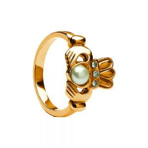 Antique Diamond and Pearl Claddgh Ring