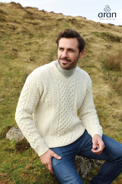 8878d113d29a Men s V-Neck Aran Sweater b736 Aran Woollen Mills - Skellig Gift Store
