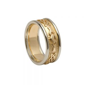 Ladies White Yellow Gold Claddagh Ring