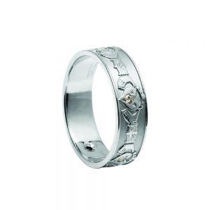 Men's Gold Diamond Claddagh Ring