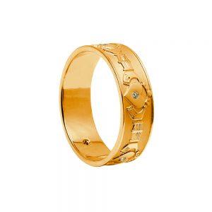 Boru Mens Gold Diamond Claddagh Ring