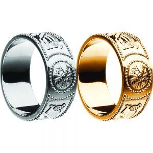 Boru Wide Gents Warrior Shield Wedding Ring