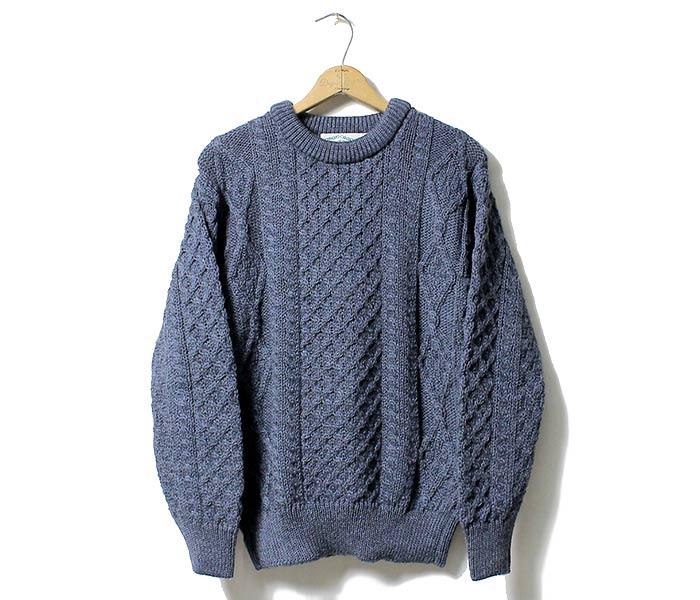 Denim Blue Irish Wool Aran Sweater By West End Knitwear Ireland