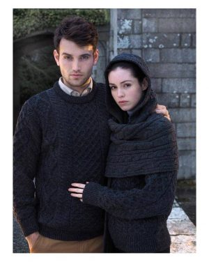 Charcoal Irish Wool Aran Sweater