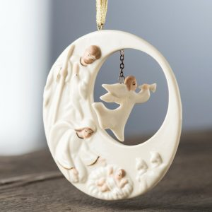 Belleek Living Nativity Angel Hanging Ornament