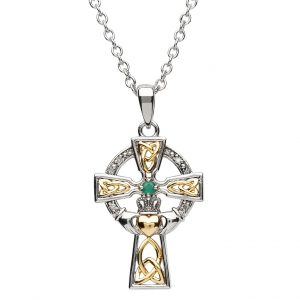 Shanore Silver Celtic Emerald Diamond Trinity Cross