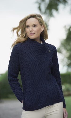 Ladies Navy Side Zip Aran Cardigan