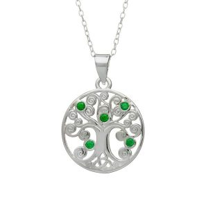 Sterling Silver Tree of Life Pendant with Green Stones