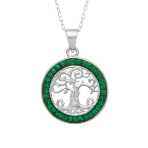 Sterling Silver Tree of Life Pendant With Green Circle