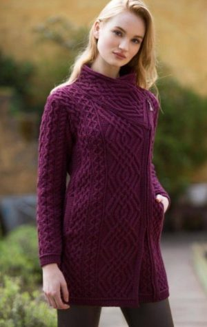 Women's Wine Cable Knit Side Zip Coat