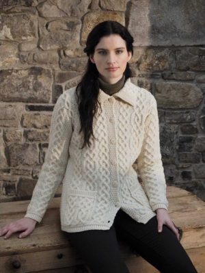 Ladies Natural Aran Buttoned Collar Cardigan