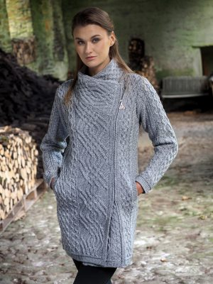 Women's Soft Grey Cable Knit Side Zip Aran Coat Z4631