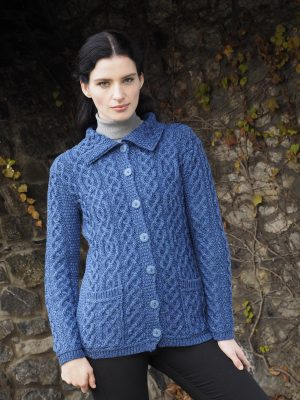 Ladies Blue Aran Buttoned Collar Cardigan