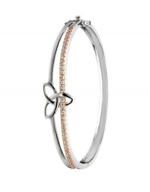 Sterling Silver Rose Gold Trinity Bangle