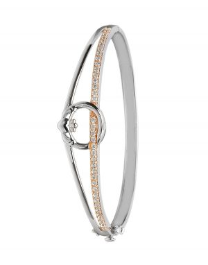 Sterling Silver Rose Gold Claddagh Bangle