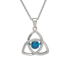 December Trinity Sterling Silver Dancing Birthstone Pendant