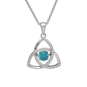 March Trinity Sterling Silver Dancing Birthstone Pendant