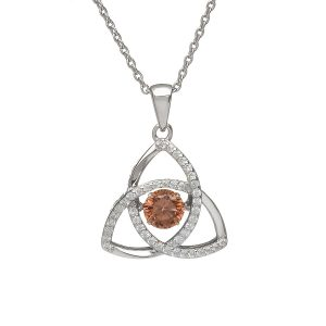 June Trinity Sterling Silver Dancing Birthstone Pendant
