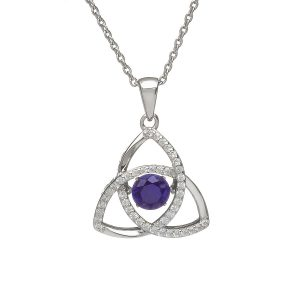 September Trinity Sterling Silver Dancing Birthstone Pendant