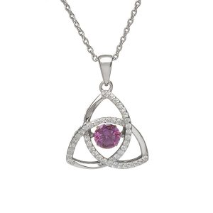 February Trinity Sterling Silver Dancing Birthstone Pendant