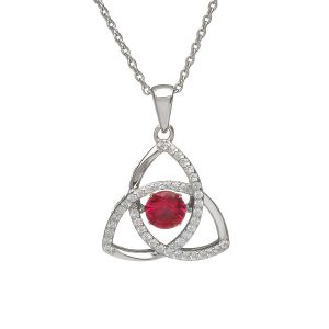 July Trinity Sterling Silver Dancing Birthstone Pendant