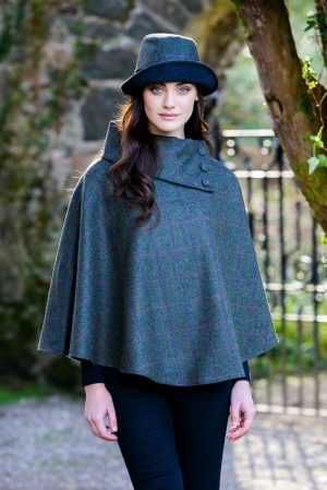 Green Mucros Irish Tweed Poncho