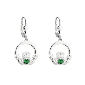 Solvar Silver Drop Claddagh Earrings