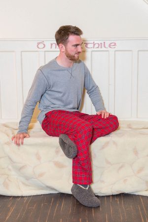 Lounge Pants Mens Cotton Flannel - Red Tartan Royal Stewart (LV27)