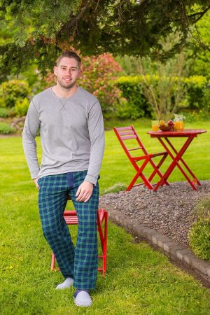 Lounge Pants Mens Cotton Flannel - Green Tartan Blackwatch (LV6)