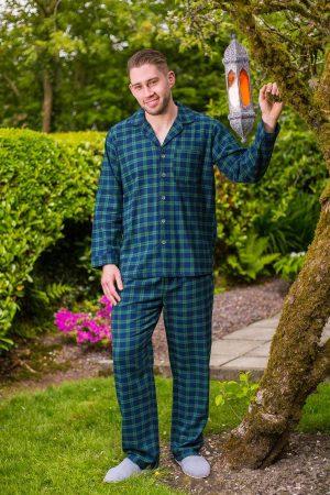 Pyjamas Lee Valley Flannel Mens - LV6 Green Tartan- Blackwatch
