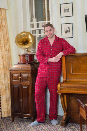 Pyjamas Lee Valley Flannel Mens -LV27 Red Tartan - Royal Stewart