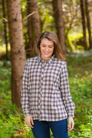Collar Shirts Eskra Fleece Lined Flannel Ladies Maroon Check (LV7)