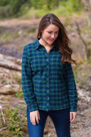 Collar Shirts Eskra Fleece Lined Flannel Ladies Green Tartan- Blackwatch (LV6)