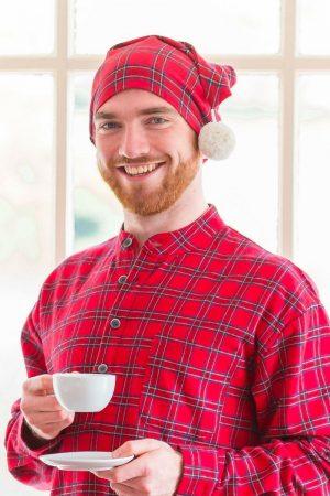 Nightcap Cotton Flannelette Mens - Red Tartan Royal Stewart (LV27)