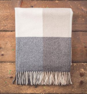 Foxford Block Check Herringbone Throw Blanket