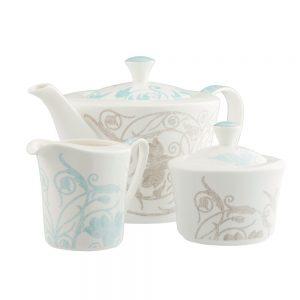 Belleek Living Novello Teapot Sugar And Cream Set