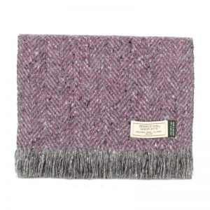 Purple Gray Mucros Donegal Tweed Scarf